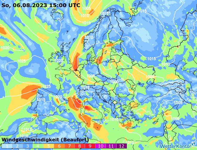 Vorhersagefilm Windströmung in Europa