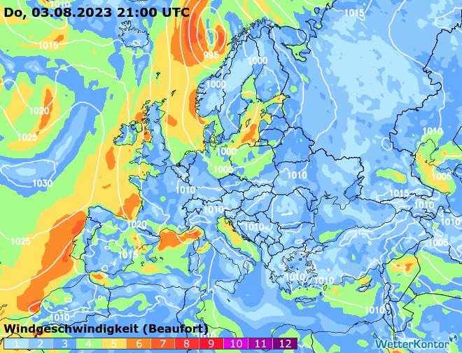 Windströmung Europa